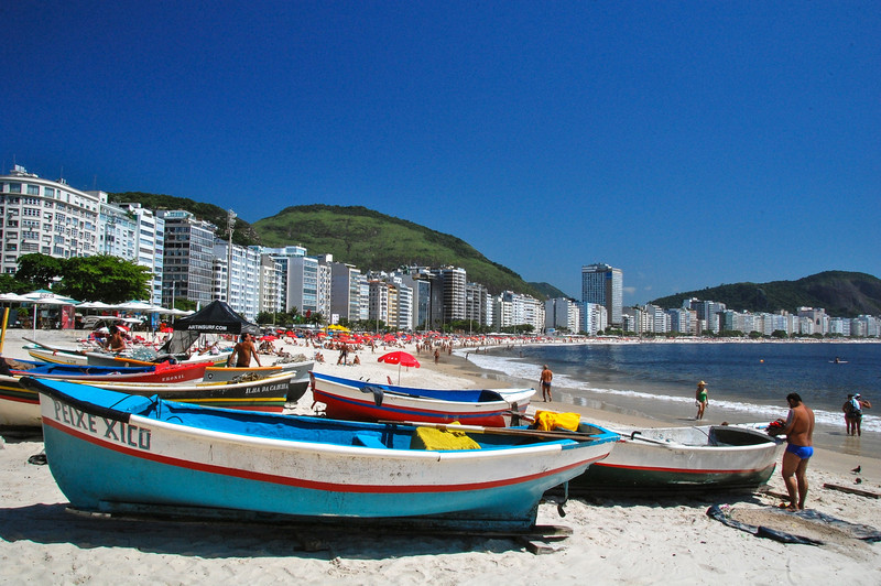 DSC_0204<br /> Colorful boats on Copacabana Beach.