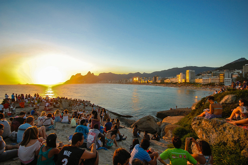 DSC_0429<br /> Every sunset is a reason to celebrate in Ipanema.  Everyone gathers on the Aproador rocks.