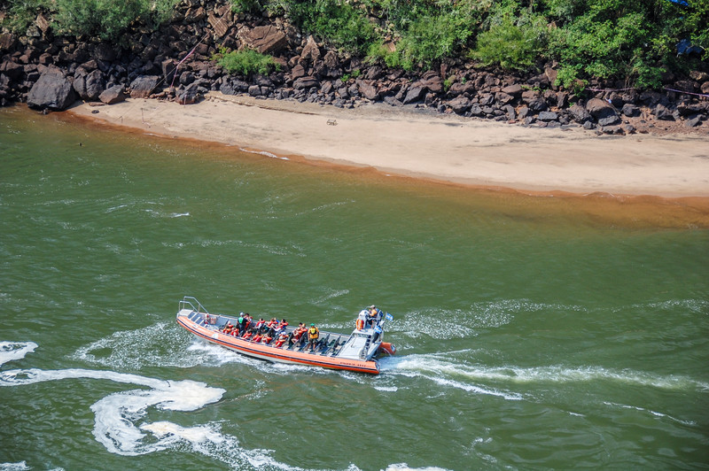 A jetboat heads for Iguazu Falls.