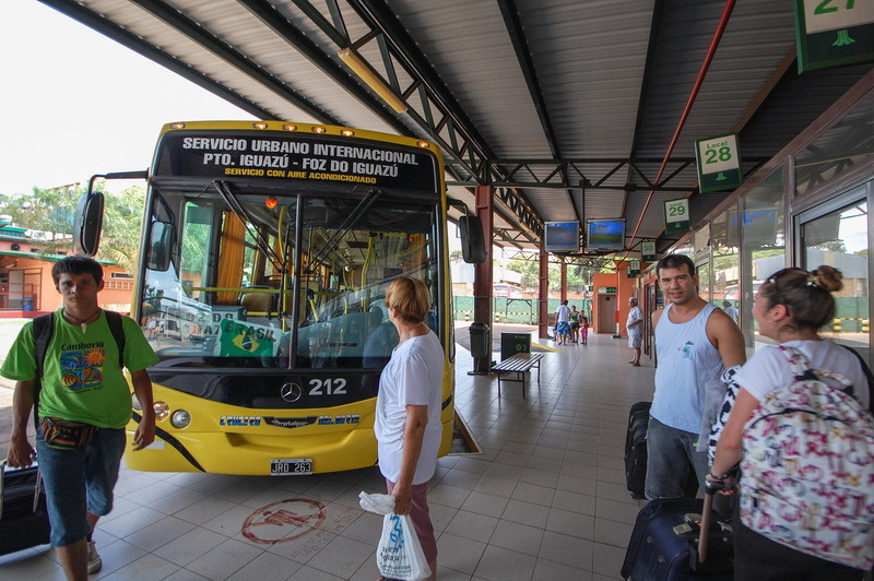 At the bus station in Puerto Iguazu, Argentina headed to the park in Brazil.