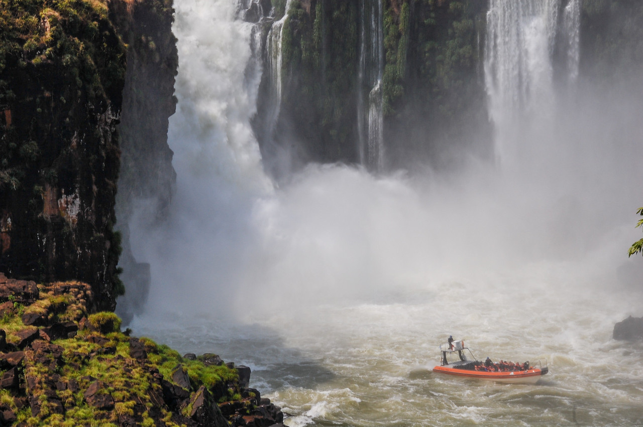 Jetboat pushed back by the falls.