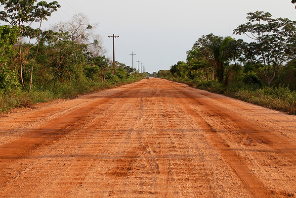 A typical view of the Transpantaneira, also known as MT-060, a road that crosses the pantanal, in the state of Mato Grosso in Brazil. The road is a link between the city of Poconé and the place of Porto Jofre. It is 147 km long and crosses no less than 122 wooden bridges, several of which were impassable so we had to go around them. Not such a probem in the dry months, but impossible during rain season. It is horribly washboarded and dusty in the dry season, and pretty much straight for the entire length of the road.