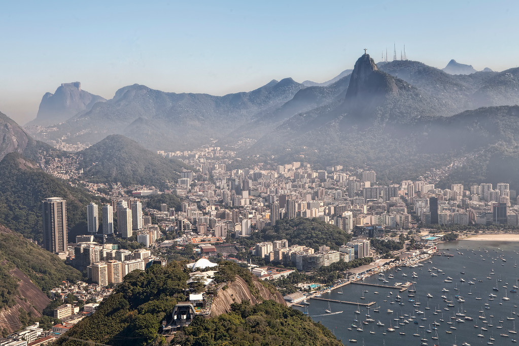 view of botafogo and christ the redeemer from sugarloaf mountain on a hazy day in rio