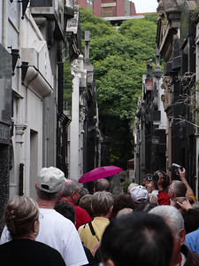 Visitors to Recoleta Cemetary make Eva Peron's crypt the #1 attraction in the grave yard