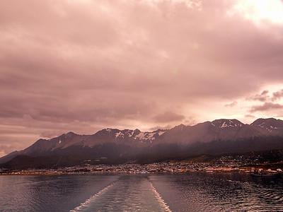 Leaving Ushuaia at sundown