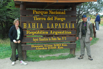 "The sign says ""Tierra del Fuego National Park"", This is the southernest point of any road on earth, ""end of the earth""."