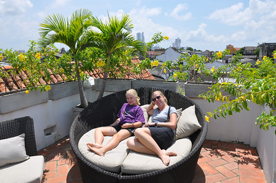 the roof of our hotel- Chloe's favourite chair!