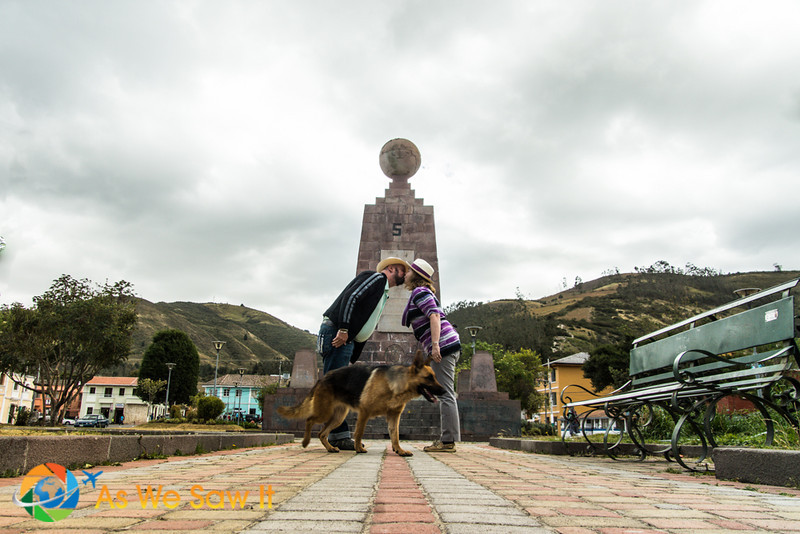 Kissing across two hemispheres in Calacali, Ecuador
