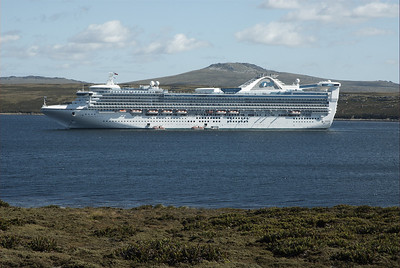 The Star Princess anchored in Stanley, Falkland Islands.  On board tenders shuttled passengers to and from shore.