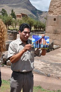 Our guide showing us what they think the structure was like in Incan times.