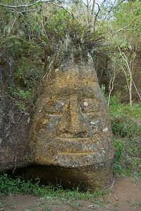 A replica of an Easter Island statue on Floreana.