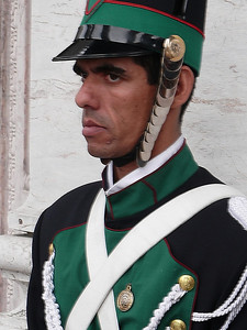 One of the many Uruguaian military guards stationed at the Parliament building