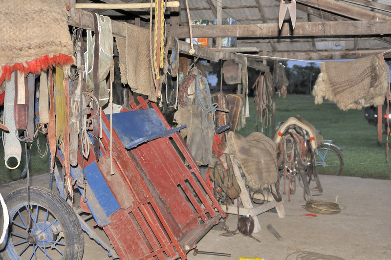 Tack room at one of the 17 cattle stations on Estancia Caiman.