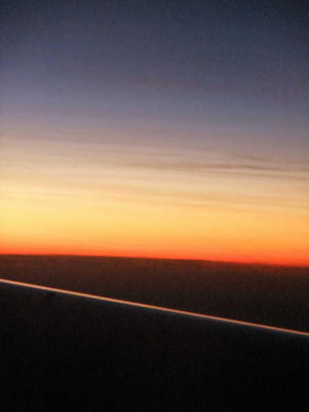 Sunrise out the plane window on the way to Sao Paulo