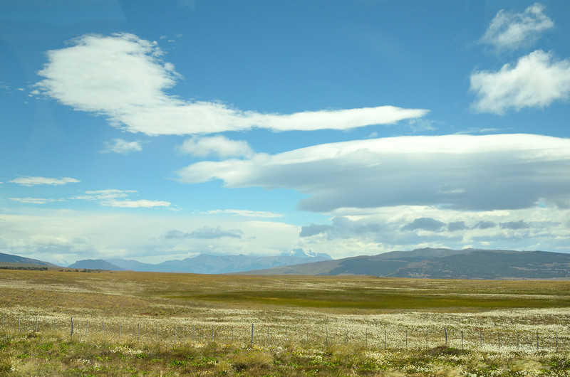 The Patagonian Steppe with Torres del Paine in the distance.