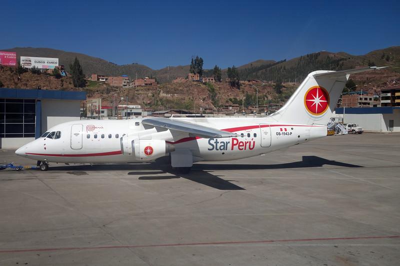 """OB-1943-P BAe 146-200 """"Star Peru"""" c/n E2133 Cuzco/SPZO/CUZ 03-05-16"""