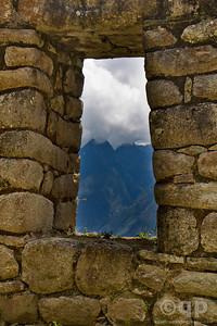 MOUNTAINS THROUGH TRAPEZOIDAL WINDOW