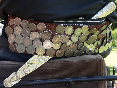 A gaucho's belt not only holds up his baggy pants, it also holds his knife and becomes a status symbol with the coin decorations.