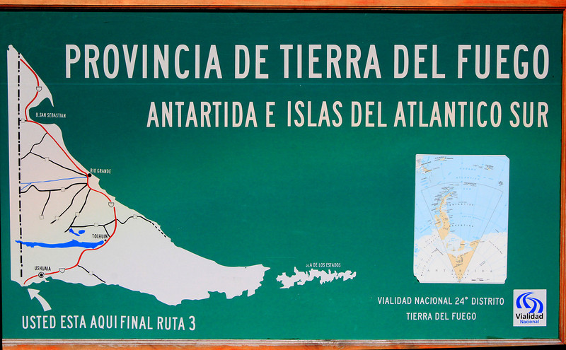 Tierra del Fuego NP Map: Terminus of Route 3