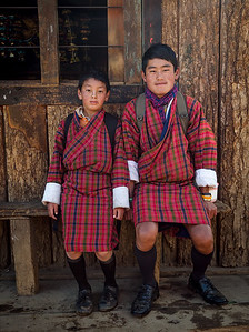 Students about to embark on an hour-long walk to school in the Phobjikha Valley