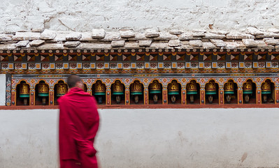 A monk passing by in the Paro Dzong