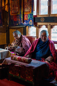 Monks after performing a locho blessing ceremony at a house in the Chummi Village