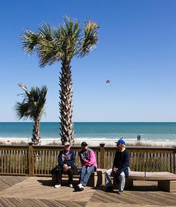 Myrtle Beach boardwalk. Ellie, Kathy, Jim.