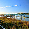 """Pier and dock at a marina on the intracoastal waterway in South Carolina with blue sky, puffy white clouds and marsh grass.<br /> <br /> bluemoon1236;  <a href=""""http://www.bluemoon1236.smugmug.com"""">http://www.bluemoon1236.smugmug.com</a> ,Bluemoon Fine Photography"""