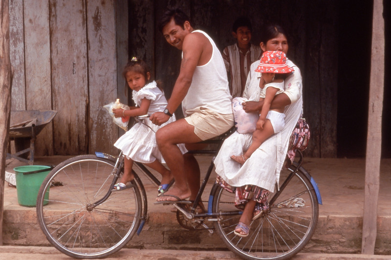 Family on bicycle in Santa Rosa, Bolivia