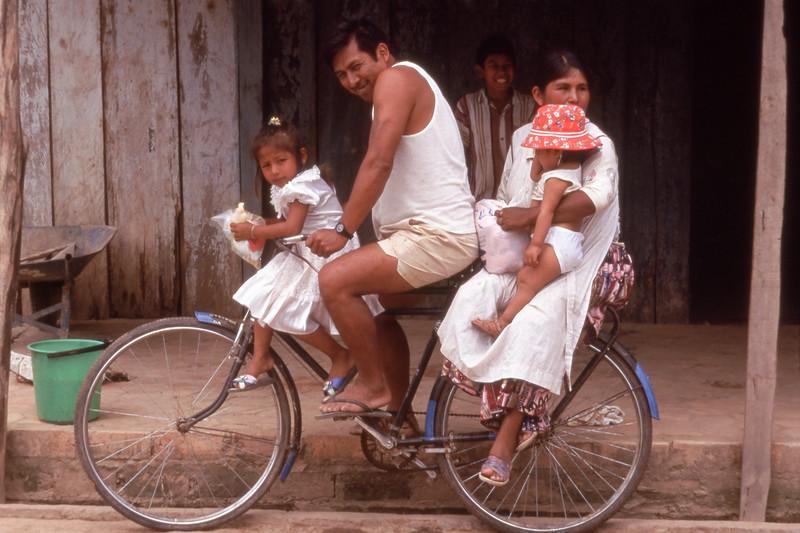 Family on bicycle in Santa Rosa, Bolivia
