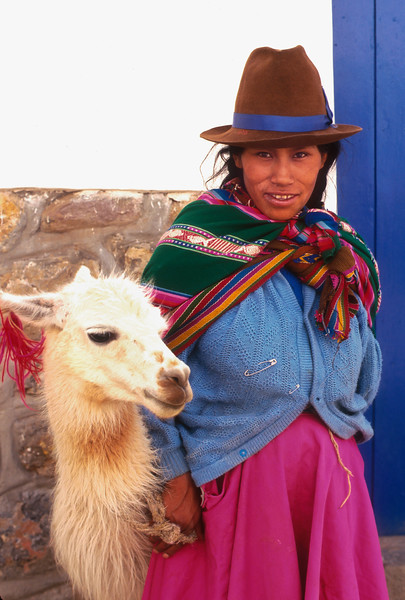 Quechuan woman and llama, Cusco, Peru
