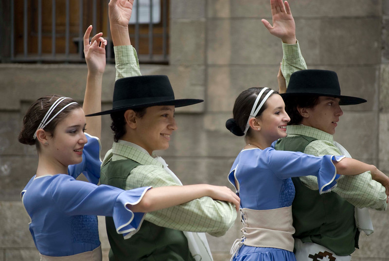 Folk dancers perform at Plaza Constitución, Montevideo, Uruguay