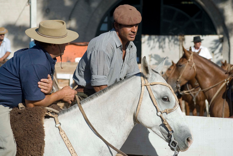 Gauchos wait to enter rodeo during Semana Criolla, Montevideo, Uruguay
