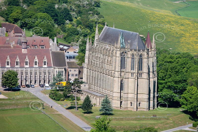 An aerial photo of Lancing College Chapel near Shoreham, West Sussex. If this is the photo you would like to purchase, click the BUY ME button for the prices and sizes of prints and digital downloads.