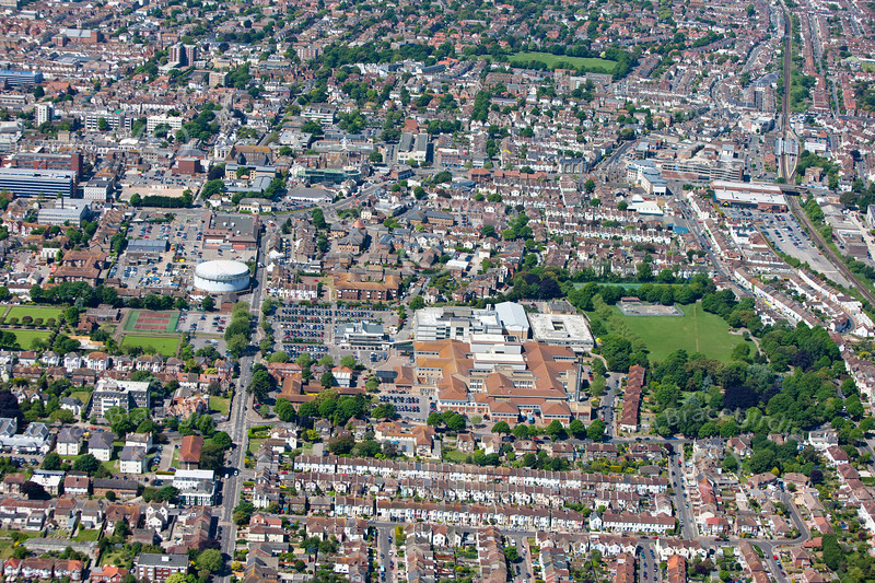 Aerial photo of Worthing and the hospital in West Sussex. If this is the photo you would like to purchase, click the BUY ME button for the prices and sizes of prints and digital downloads.