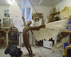 "Icarus in the artist's studio, ready for casting. [<i>Photo from <a href=""http://www.nicolagodden.co.uk"" target=""_blank"">Nicola Godden's website</a></i>.] Images of its creation can be found on the website of <a href=""http://www.dockenfieldpc.org.uk/gallery/gallery/ng_gallery/index.html"" target=""_blank"">Dockenfield Parish Council</a>"