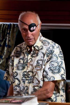 "Stan Waterman, well dressed in a ""Critter Wear"" shirt."