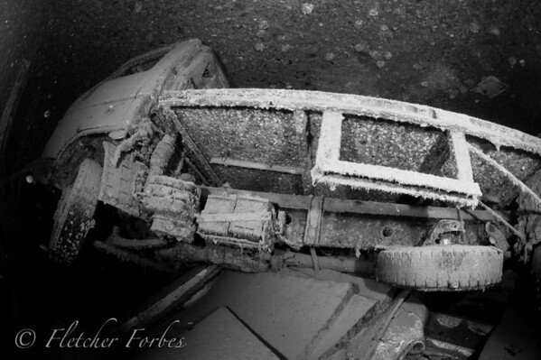 wreck's cargo area. The wreck flipped upside down when it sank.