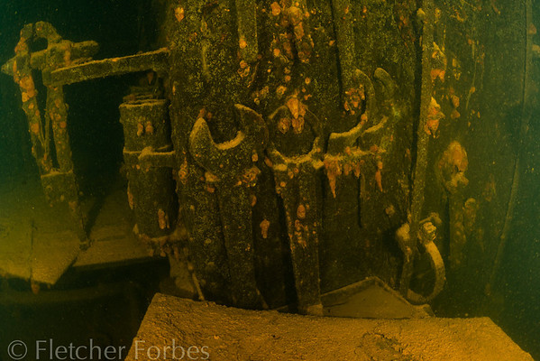 Machine room of Kensho Maru. These wrenches are over three feet tall.