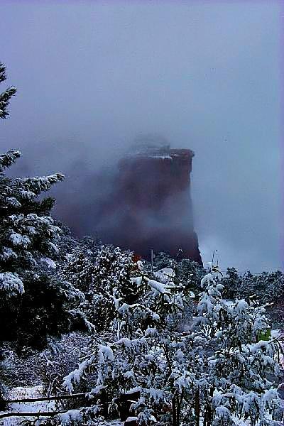 Coffee Pot Rock in snow