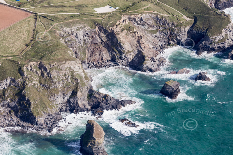 Aerial photo of The Bedruthan Steps.