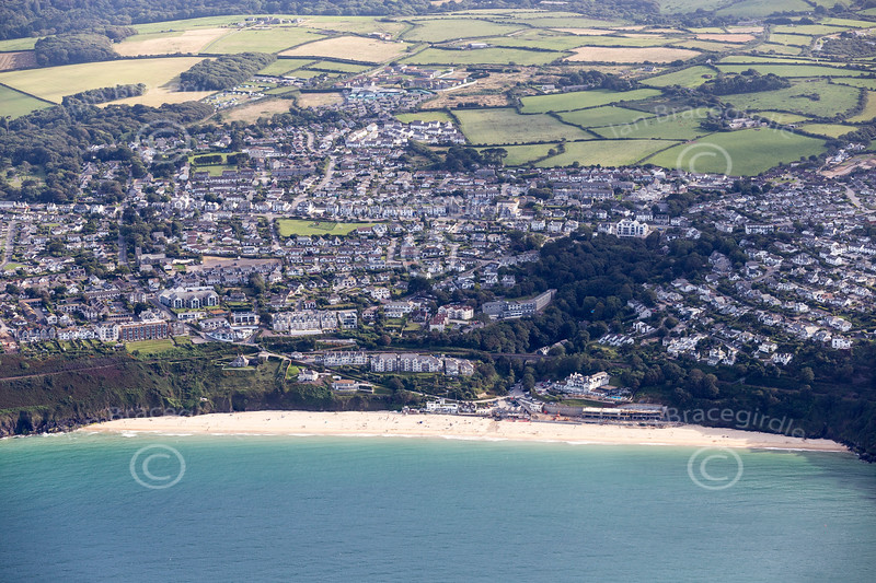 Aerial photo of Carbis Bay.