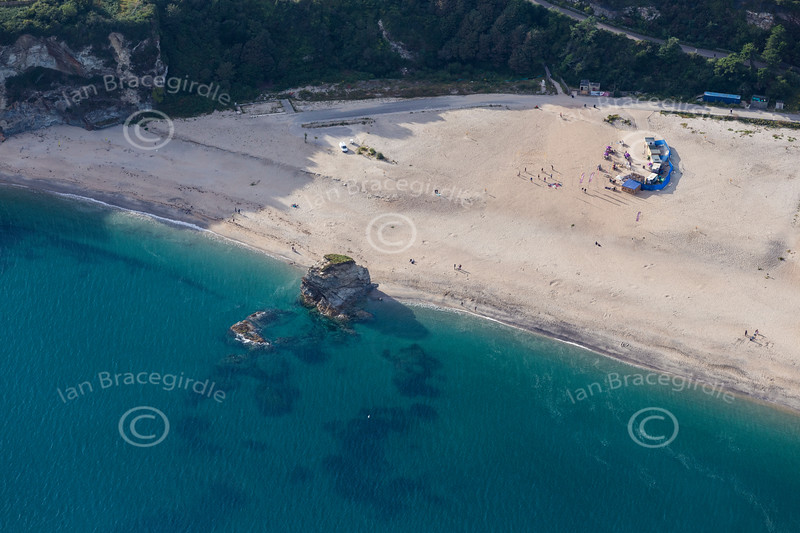 Aerial photo of Carlyon Bay.
