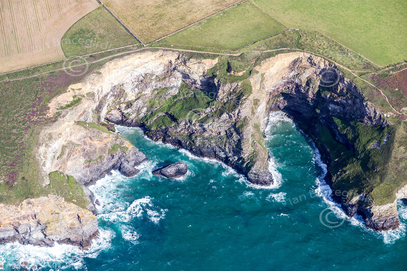 Aerial photo of cliffs near Mawgan Porth.