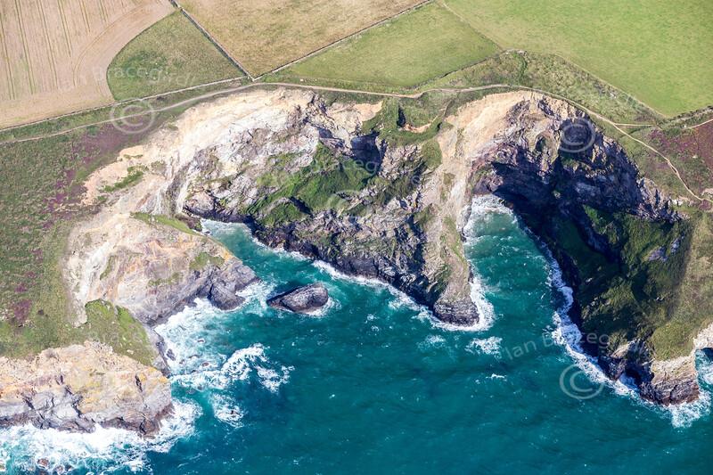 Aerial photo of cliffs near Mawgan Porth.