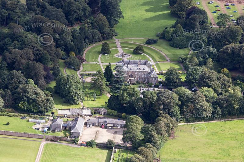 Aerial photo of Pencarrow House.