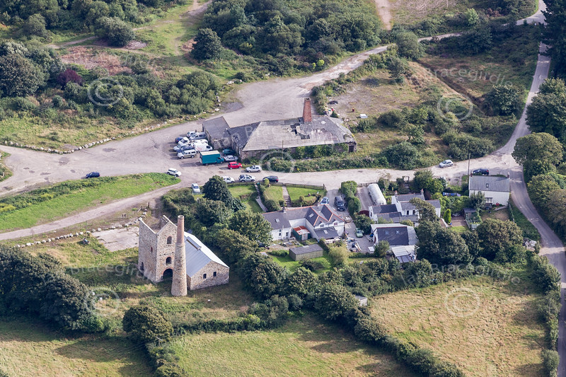 Aerial photo of Wheal Busy Mine.