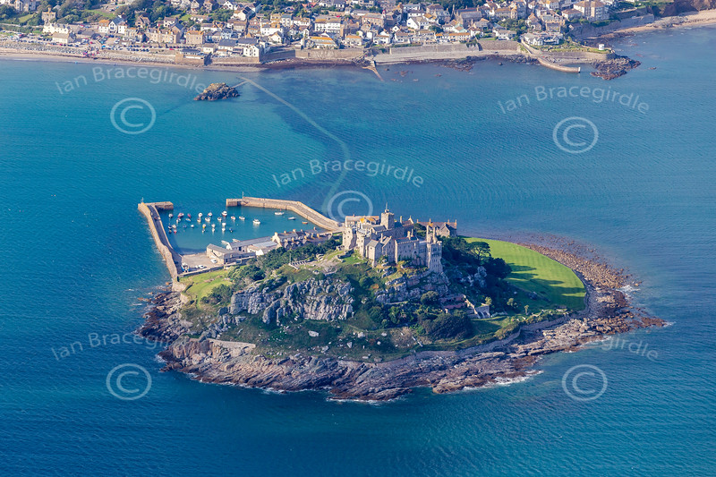 Aerial photo of St Michael's Mount.