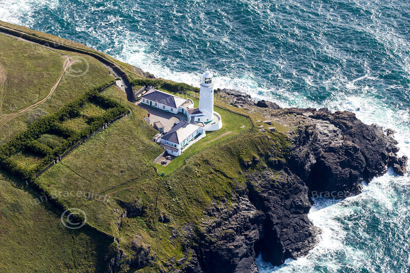 Aerial photo of Trevose Head Lighthouse.