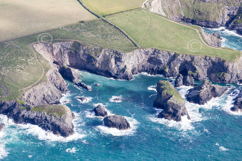 Aerial photo of cliffs near Treyarnon.